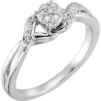 10K White Gold 1/8 CTW Diamond Cluster Twist Promise Ring