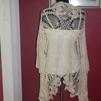 lace crochet jacket in creme 100% cotton