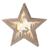 Lighted LED Star Scene - Illuminated Carved Holiday Scene - Christmas Deer