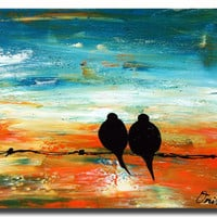 24x18 Original Modern Texture Impasto Love Birds by OritArt