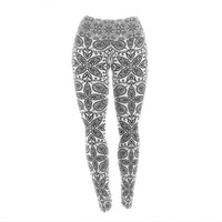 "Nandita Singh ""Boho In Black And White"" Grey Pattern Yoga Leggings"