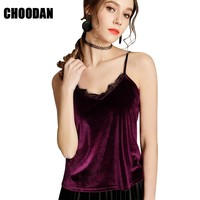 Velour Camisole Tank Lace Patchwork New 2018 Summer Fashion Sexy V Neck Top Tank Women Shirts Casual Sleeveless Womens Clothing