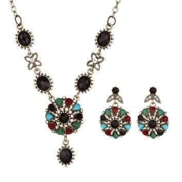 2017 Vintage Jewelry Sets Black Green Multi Resin Crystal Earrings And Necklace For Women Antique Gold Color Jewellery Set Gift