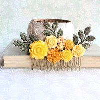 Yellow Flower Hair Comb Floral Collage Wildflower Inspired Rustic Patina Branches Green and Yellow Summer Wedding Hair Accessories Colorful
