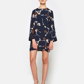 Ganni / Dalton Crepe Mini Dress in Total Eclipse