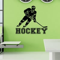 Hockey Wall Decal Sports Man Ice Hockey Player Sport Wall Decal Vinyl Stickers Teens Boys Room Bedroom Dorm College Wall Art Home Decor Q127