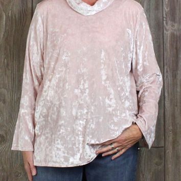 Nice Ruby Rd XL size Blouse Soft Pink Velour Turtleneck Bell Sleeve Womens Comfy Top