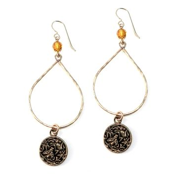 NECTAR Large Teardrop Antique Button Earrings - BRONZE w/ gemstone