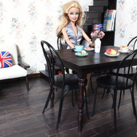 1/6 scale Miniature Table and 4 Bentwood Chairs Dining Set for dolls (Blythe, Pullip, Obitsu, Barbie, BJD, Momoko).