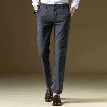High quality men's brand business casual pants straight loose Elasticity Simple style Formal wear Casual trousers