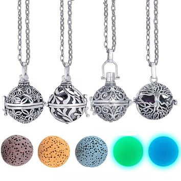ping Felt Ball Lava Stone Aromatherapy Antique Vintage Glow Diffuser Necklace Locket Necklace for Perfume Essential Oil