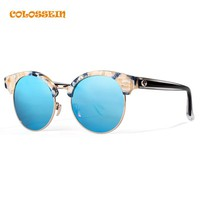 COLOSSEIN Sunglasses Men Women Retro Round Glasses with Polarized Lens Glasses Fashion Travelling Eyewear UV Protection Eyewear