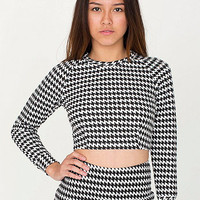 Houndstooth Long Sleeve Crop Raglan Sweater | American Apparel
