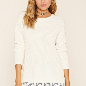 Lace-Hem Knit Sweater