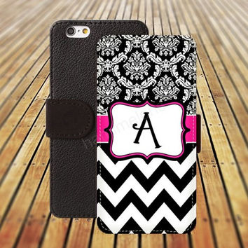 MONOGRAM Wallet Case iphone 5/ 5s iphone 4/ 4s iPhone 6 6 Plus iphone 5C Wallet Case , iPhone 5 Case, Cover, Cases Black/White Chevron pattern