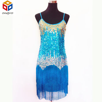 Bling women latin dance practice dress sequin fringe slip club dress with Rainbow color