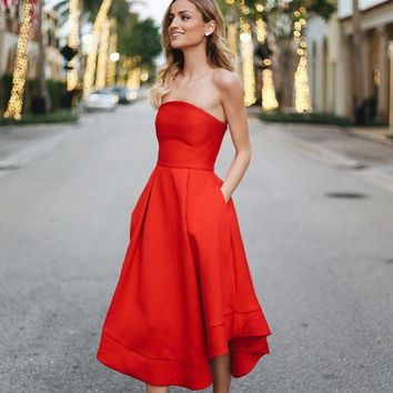 Strapless Ankle Length Two Pockets Red Prom Dress