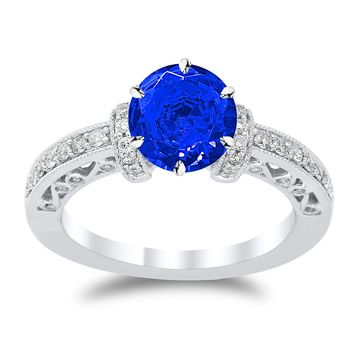 CERTIFIED | Designer Vintage with Milgrain Diamond Engagement Ring with a 0.75 Carat Blue Sapphire Heirloom Quality Center (Platinum, Yellow, White, Rose)