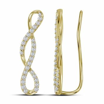 10kt Yellow Gold Women's Round Diamond Climber Earrings 1-2 Cttw - FREE Shipping (USA/CAN)