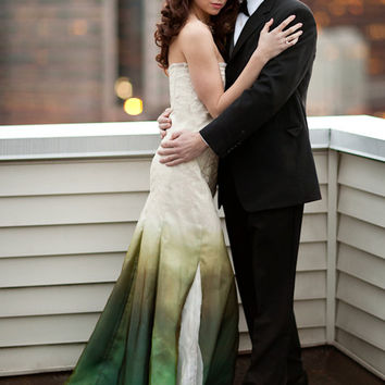 Beach Wedding Dress,  Wedding Dress, Silk Wedding Dress, Green Wedding Dress, Eco Wedding Dress, Ombre Wedding Dress, Gradient Wedding Dress