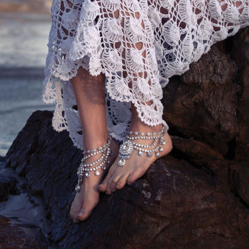 1 Pair Beautiful Silver Jewelled Anklets for Beach Wedding, Boho Brides, Bohemian barefoot sandals - 'Enchanted'