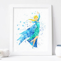Frozen Elsa Print, Disney wall decor - Watercolor, Art Print, Home Wall decor, Disney Princess Poster