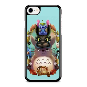 totoro stich and toothless iPhone 8 Case