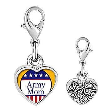 DemiJewelry Army Photo Heart Love Lobster Clasp Link Charm For Charm Bracelet amp Pendant Necklace