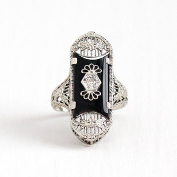 Antique Art Deco 14K White Gold Black Onyx & Diamond Ring - Vintage 1920s Size 4 Flower Floral Filigree Gemstone Navette Fine PSCO Jewelry