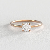 Rose Gold Moissanite Engagement Ring  | 5mm Half Carat Brilliant Cut Center Stone | Claw Prong Setting | Recycled Minimal Round Band