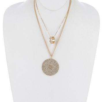Clear Pave Crystal Stone Metal Disc Pendant Necklace