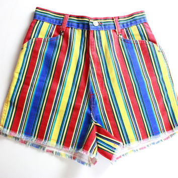 90's Colorful Striped High Waisted Jean Shorts