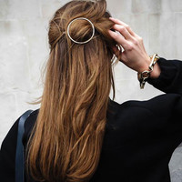 Fashion Punk Gold Plated Hair Clips Metal Round Circle Hair Pins Hair Accessories