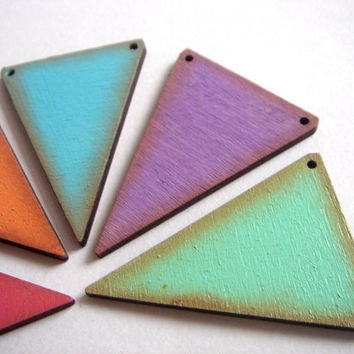 Painted Geometric Triangles pendants,Laser Cut Wood Triangles Tile for Jewelry,Geometric Jewelry,Hand Painted wood Triangles 4mm,