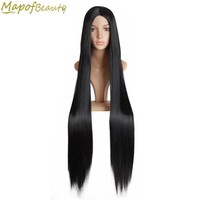 40inches 100cm Long straight hair dark black Synthetic wigs for black women Ladies Heat Resistant Party MapofBeauty