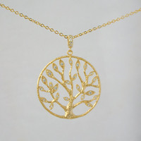 Leaf tree crystal pendant gold necklace with chains, Game of Thrones Tree Pendant, Gold Crystal Chain necklace, Gift for her