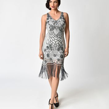 Frock and Frill Grey Sequin & Tassle Belicia Flapper Dress