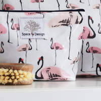 Flamingo Party Make Up Bag – Flamingo print  –  Wash Bag - Gift for friend - Gift for her – Birthday – Flamingo gift  – New Mother – White