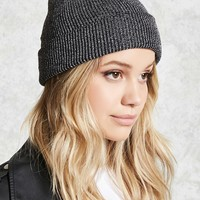 Metallic Ribbed Knit Beanie