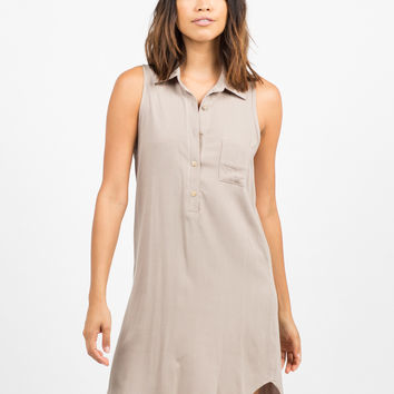 Woven Sleeveless Shift Dress
