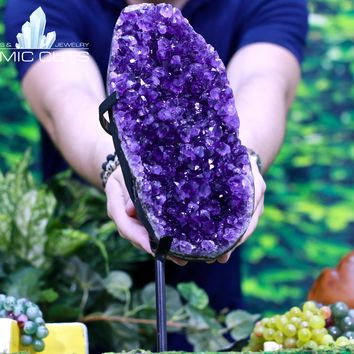 Amethyst Geode 14.75 Custom Stand Uruguay Crystal Cluster CC-127s