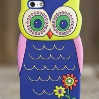 Trendy Natural Life Blue and Pink 3D Owl IPhone Cover Phone Case Iphone 5
