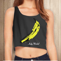 The Velvet Underground Andy Warhol Women Crop Tanktop - tri1 Crop Tanktop For Women  / Custom - Crop Tanktop