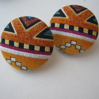 Multicolor Mustard African Tribal Button Earrings