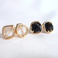 Black and Clear Gold Filled Stud Earring Duo, Wire Wrapped Jewelry Handmade, Wired Stud Earings, Swarovski Earrings, Black and Clear Earings