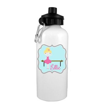 Blonde Hair Ballerina at Bar Personalized Water Bottle
