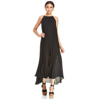 Chiffon Halter Pleated Maxi Dress