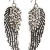 silver-colored rhinestone wing earrings