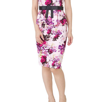 TRISS Floral Peplum Dress With Black Ribbon In Pink