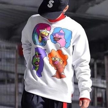 """""""Supreme Gonz Heads Crewneck"""" Unisex Personality Cartoon Character Print Long Sleeve Pullover Sweater Couple Casual Tops"""